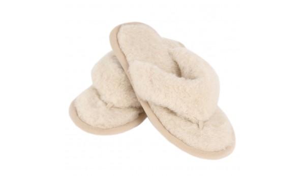 Damen Hausschuhe aus Wolle - Flip-Flops - Rutschfeste Pantoffeln für Sommer und Winter
